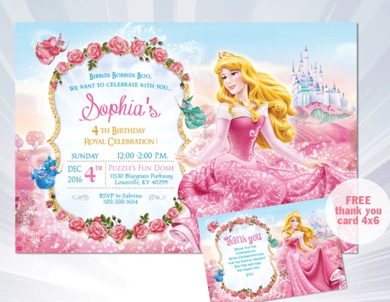 Princess Aurora Invitation Sleeping Beauty Birthday