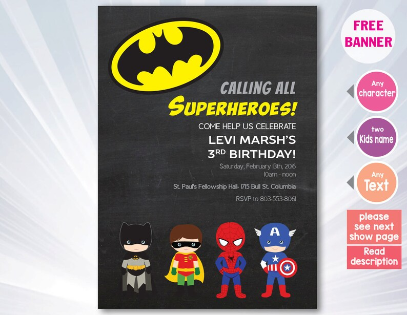 graphic about Free Printable Super Hero Invitations named Superhero invitation - superhero birthday occasion - boy lady invitation - invitation - customized - printable superhero invitation