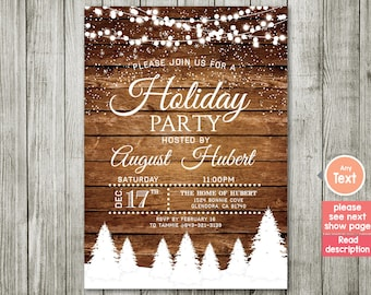 Holiday Party Invitation. Christmas Party Invitation. Christmas Dinner. Rustic Christmas Invitation. Rustic Winter Invitation.