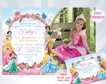 Princess Invitations - Princess Birthday Party Invitations - princess birthday party - girl invitation - Disney Princess Invitation