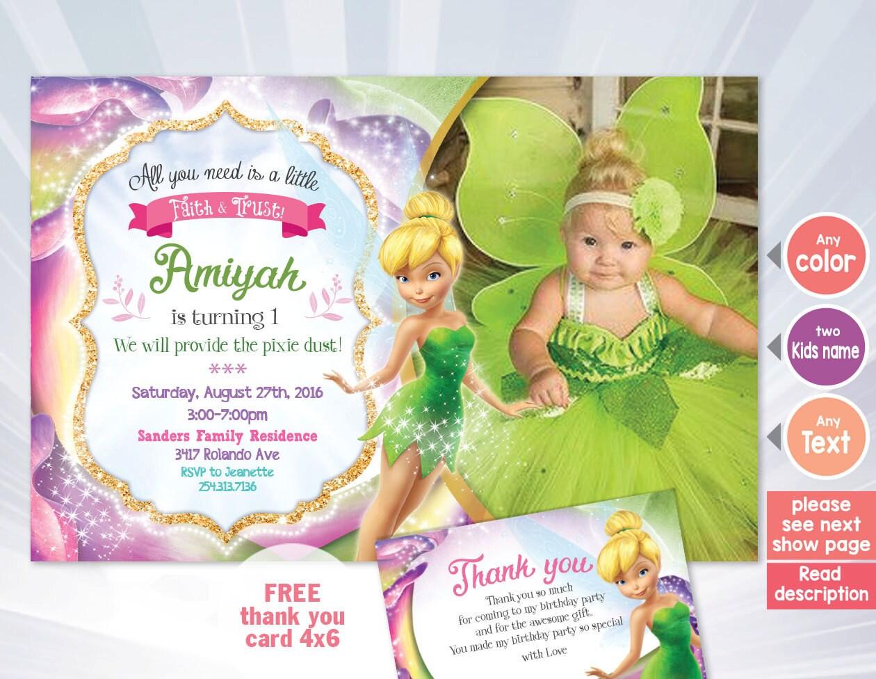 Tinkerbell Invitation Fairy Invitation Tinkerbell Birthday Etsy
