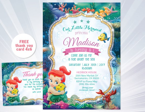 Ariel Birthday Invitation Mermaid Princess