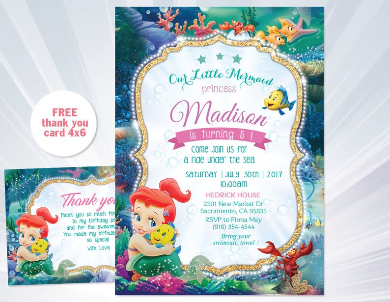 Ariel Birthday Invitation Mermaid