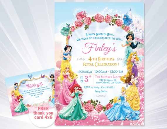 princess invitations princess birthday party invitations etsy