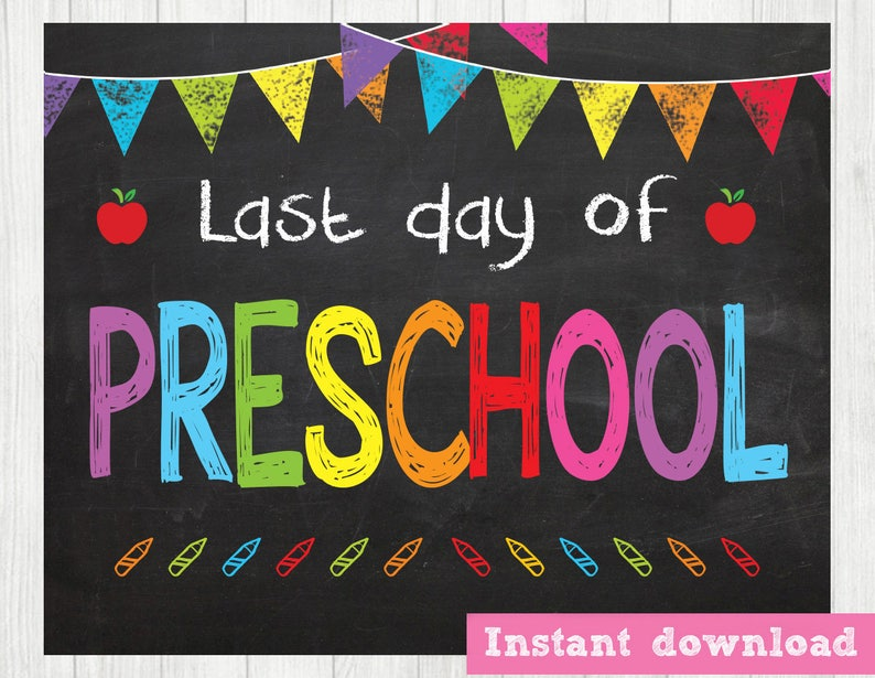 graphic regarding Last Day of Preschool Sign Printable named Previous Working day of Preschool Signal, Final Working day of College Indicator, Past Working day of Higher education Chalkboard Indicator Printable Image Prop Commencement, Fast Obtain