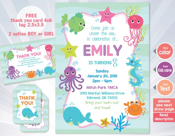 Ocean Birthday Invitation Under Sea Party Boy