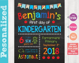 First Day of School Sign, First Day of School Chalkboard Sign Printable, 1st day of kindergarten sign, Preschool Grade DESIGN - 003