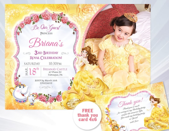 Princess belle birthday invitation beauty and the beast etsy image 0 filmwisefo