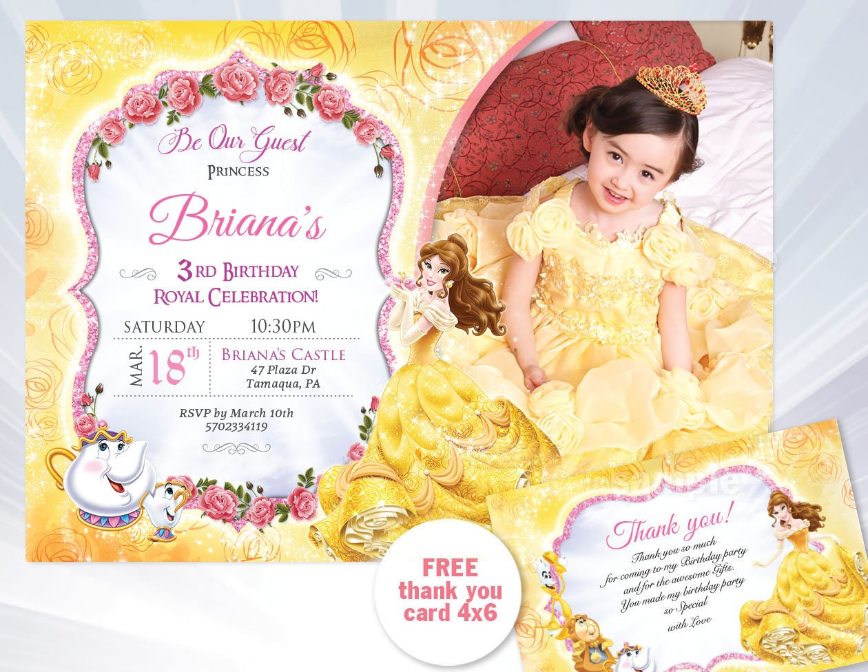 Princess belle birthday invitation beauty and the beast etsy zoom filmwisefo