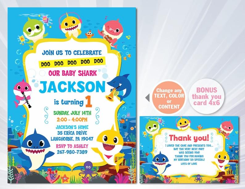 Baby Shark Birthday Invitation Boy Baby Shark Invite Baby Shark Doo Doo Party Decor Summer Birthday Invitation Ocean Birthday Invitation