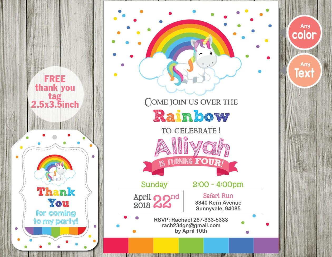 Rainbow invitation unicorn invitation birthday party boy | Etsy