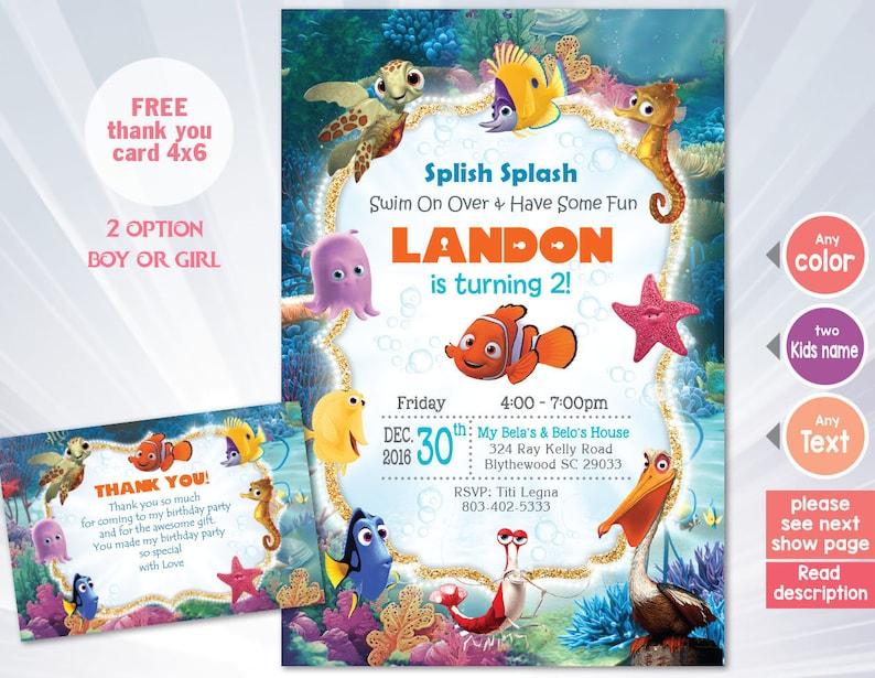 Finding Nemo Invitation NEMO Birthday Party