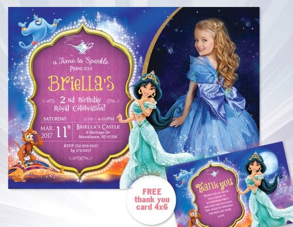 86 Princess Jasmine Birthday Invitations