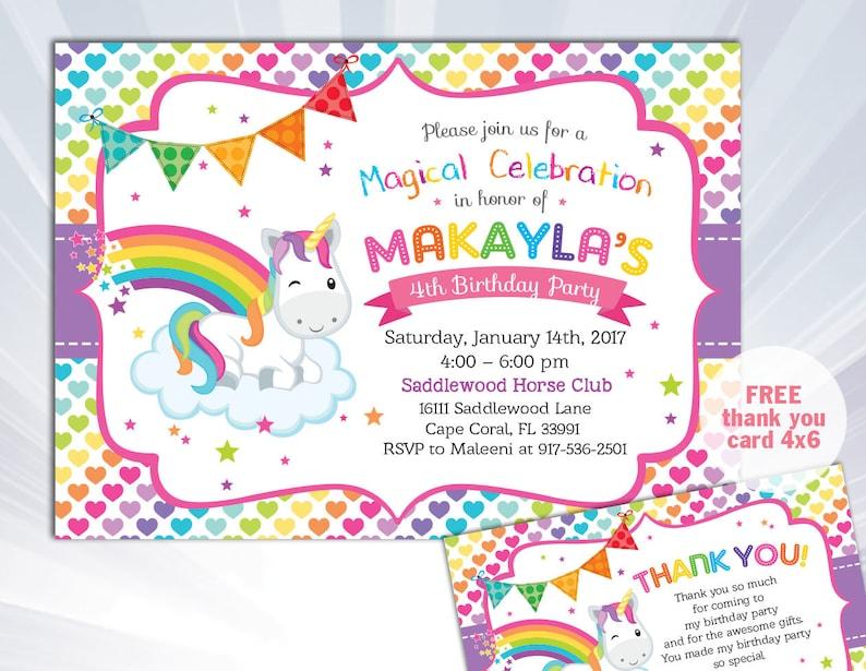 Rainbow Unicorn Invitation Birthday