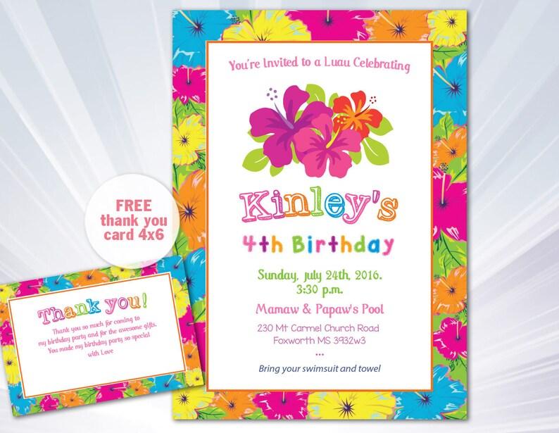 Luau Invitation Birthday Party Boy Girl