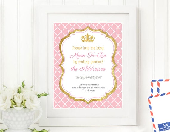 Help Mommy Write Envelope Baby Shower Game Pink And Gold Etsy