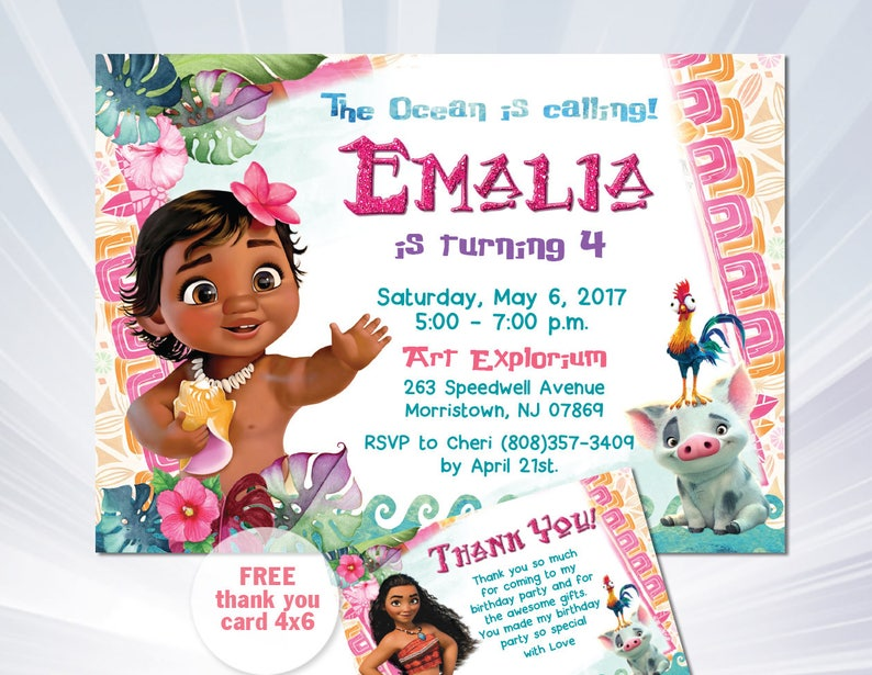 MOANA BIRTHDAY INVITATION Baby Moana Invitation