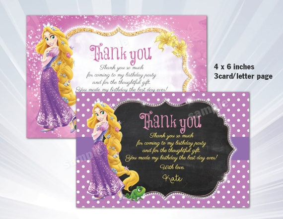 Rapunzel tangled thank you card tangled birthday party etsy image 0 filmwisefo