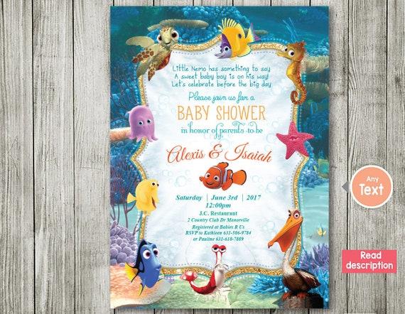 Finding Nemo Invitation Baby Shower Invitation Nemo Baby Etsy