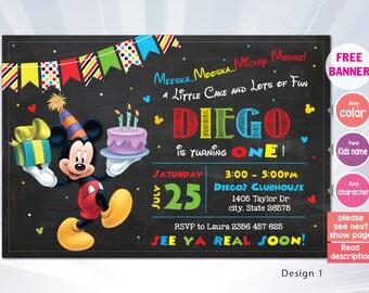 mickey invitation - Mickey mouse invitation - Mickey birthday party - printable minnie invitation - mickey birthday invitation