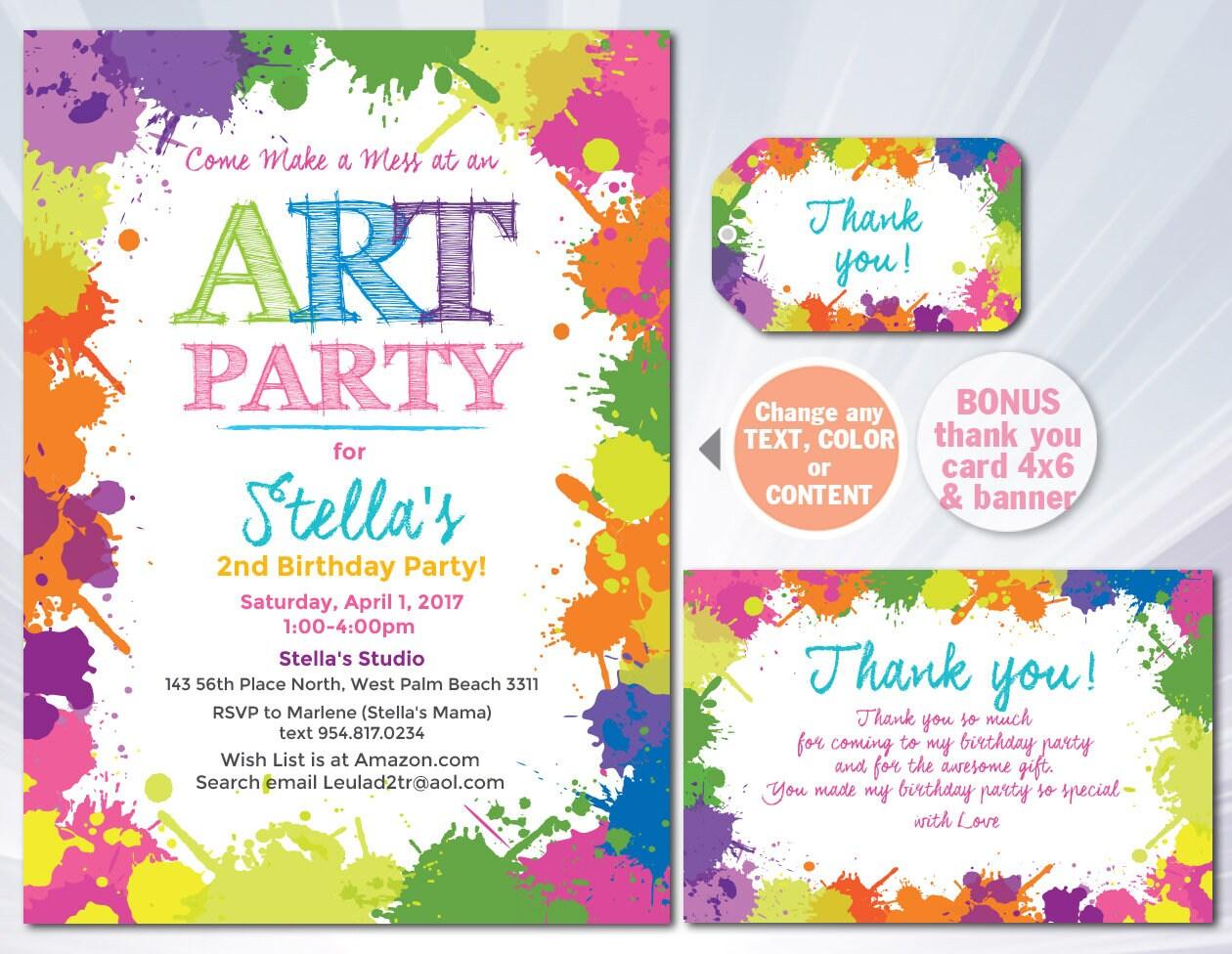 Paint Splatter Invitation Paint Splatter Birthday Party Etsy