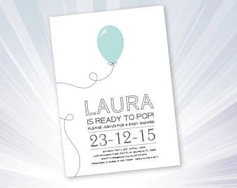 balloon baby shower invitation - balloon party - baby shower party - baby shower invitation