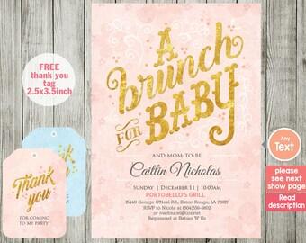 BRUNCH baby shower invitation  - BRUNCH invitation - Baby shower invitation - BRUNCH - boy girl invitation - pink invitation