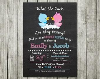 Gender Invitation, Gender baby shower Invitation, What the Duck Gender Reveal Chalkboard Printable,  Announcement Baby Shower Vote