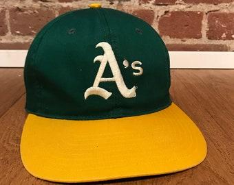 1b3b7589 Vintage Oakland Athletics A's Snapback Hat Adjustable Plain Logo MLB  Baseball Twins Enterprises