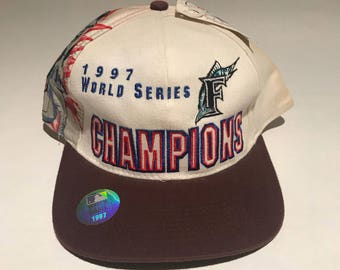 Vintage Florida Marlins 1997 World Series Champions Snapback Hat Adjustable  By Drew Pearson NEW with Tag e6bd83ee4