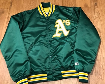 d90250576 Vintage Oakland Athletics Satin Jacket Bomber A s MLB Baseball 90s 80s by  Starter Diamond Collection Elphant Patch Large
