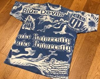 6c40efb95abe Vintage Duke University Blue Devils All Over Print Tee Shirt Ritz AOP 90s  by Magic Johnson T s size Large