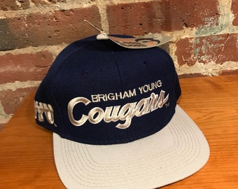Vintage Brigham Young University Cougars Script Snapback Hat Adjustable BYU  Sports Specialties New Tag 387b4291fe24