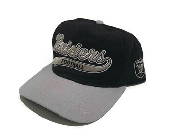 8f5b7f0d73e Vintage Oakland Raiders Script Snapback Hat Adjustable NFL Football Starter