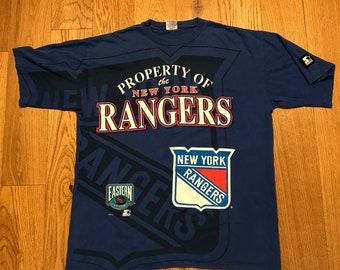 Vintage New York Rangers Big Logo Tee Shirt 90s NHL Hockey By Starter Size  Large 0e508f11e