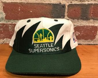 57e178d9f Vintage Seattle Supersonics Shark Tooth Snapback Hat Adjustable Sonics By Logo  Athletic