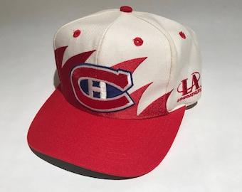 ee35f697a Vintage Montreal Candiens Sharktooth Snapback Hat Adjustable NHL Hockey Rare  90s Logo Athletic