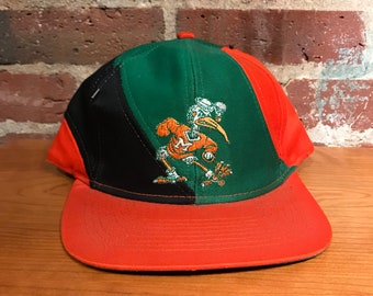 ad5ee16634be8 Vintage University of Miami Hurricanes Snapback Hat Adjustable 90s Swirl NEW