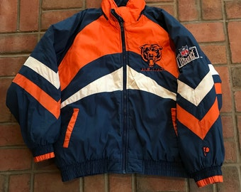 12ac8a64c2a Vintage Chicago Bears Winter Jacket Full Zip Parka NFL Football Throwback  By Pro Player Size XL