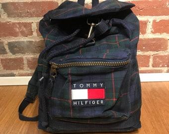 9d7245650b1 Vintage Tommy Hilfiger Plaid Backpack 90s Throwback Green Rare