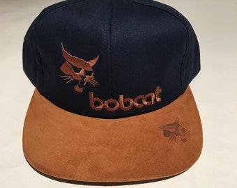 dadec4b22af Vintage Bobcat Equipment Snapback Hat Adjustable Suede Skid Loader Crawler  Cat Construction