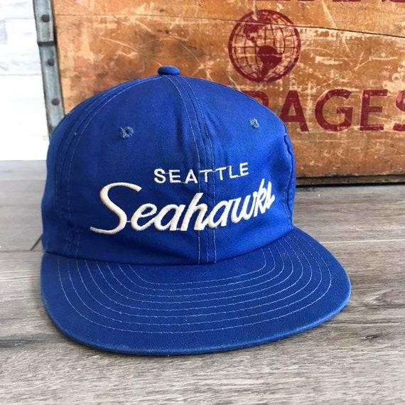 Vintage Seattle Seahawks Script Snapback Hat Adjus