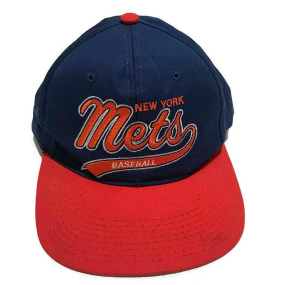 Vintage New York Mets Script Snapback Hat Adjustable Starter  c5c93b2fb