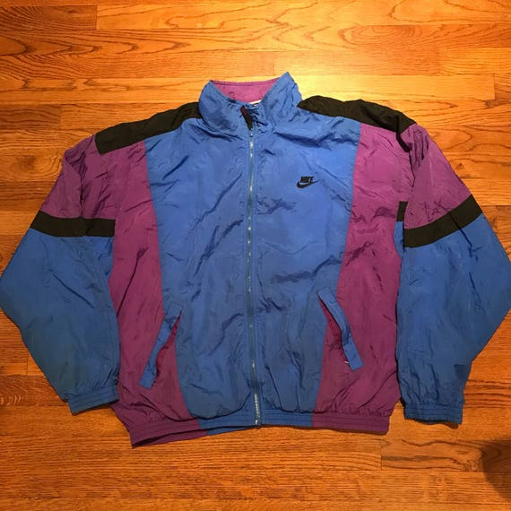 Vintage Nike Windbreaker Jacket Grey Tag Swoosh Purple Blue  f40be876c