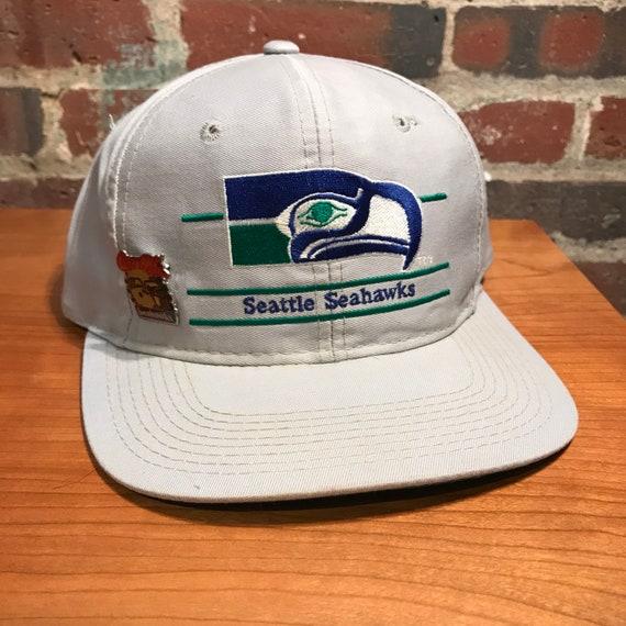 Vintage Seattle Seahawks Split Bar Snapback Hat Ad