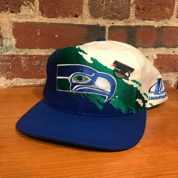 Vintage Seattle Seahawks Paint Splash Snapback Hat Adjustable  3473f4483