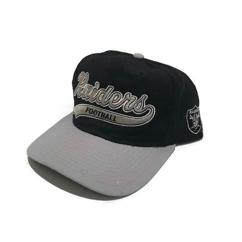 4f6a4809d86 Vintage Oakland Raiders Script Snapback Hat Adjustable NFL