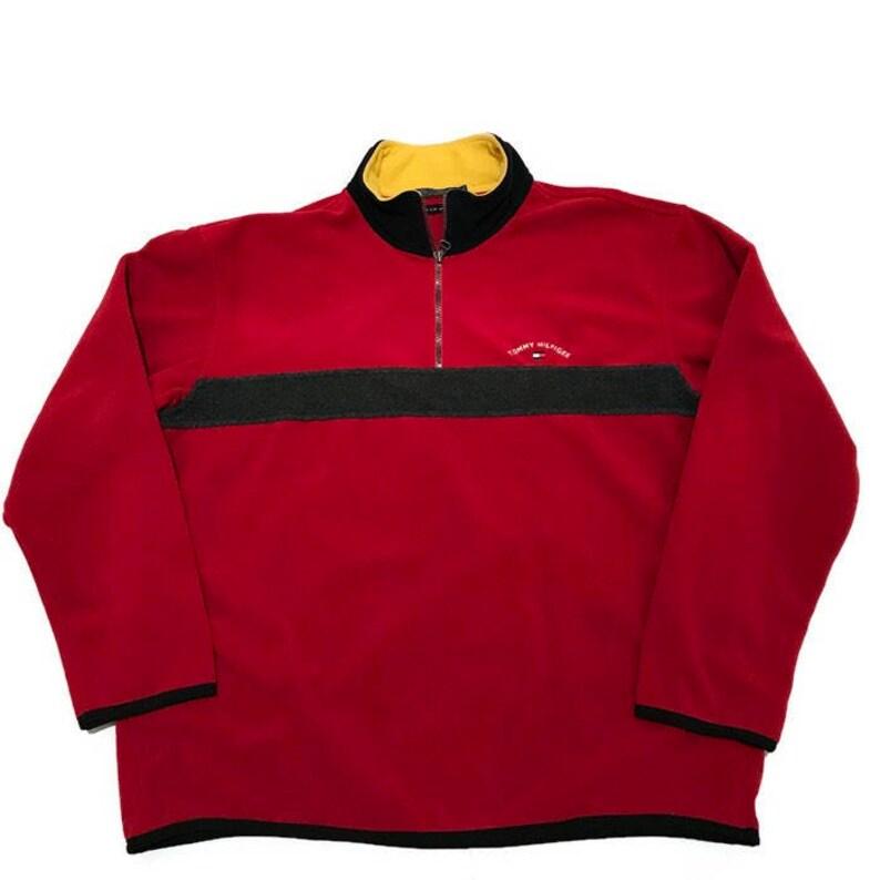 994c0cfe4e3df Vintage Tommy Hilfiger Fleece Quarter Zip 1 2 Red Gray Size XL