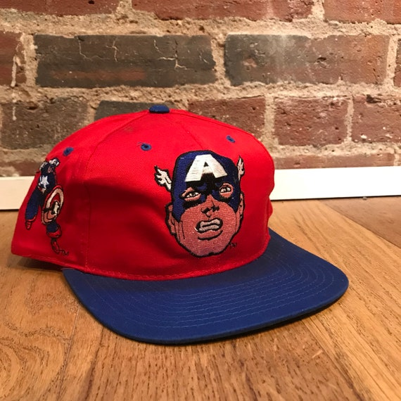 a2d5c6c67 Vintage Captain America Toon Blockhead Snapback Hat Adjustable 1993 Marvel  Comics American Needle