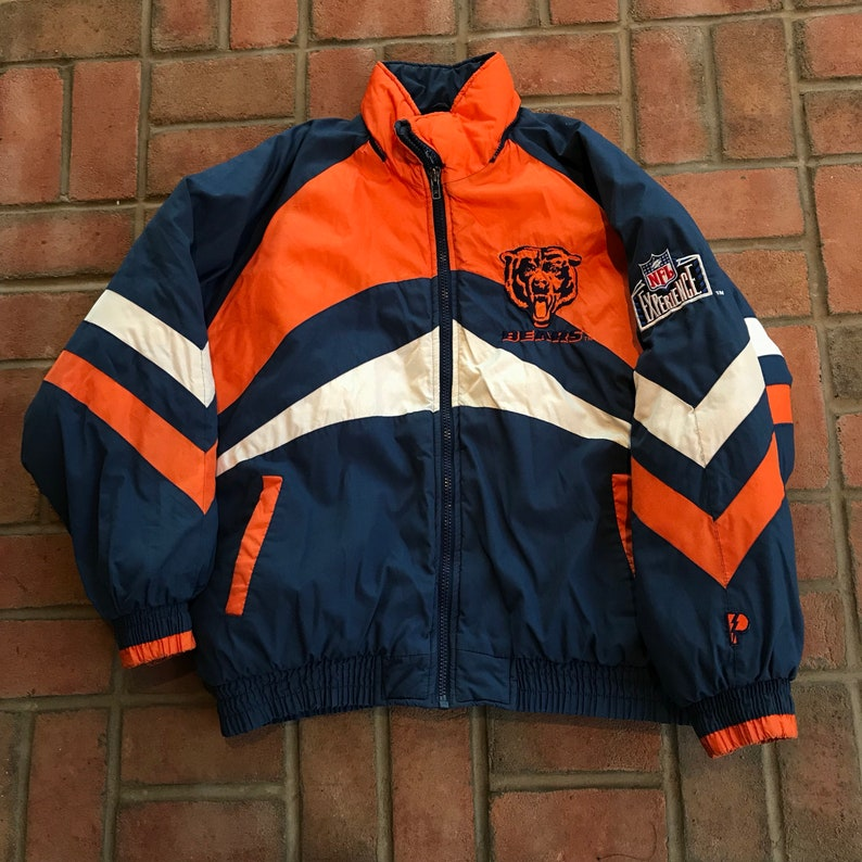 on sale 40792 771dc Vintage Chicago Bears Winter Jacket Full Zip Parka NFL Football Throwback  By Pro Player Size XL